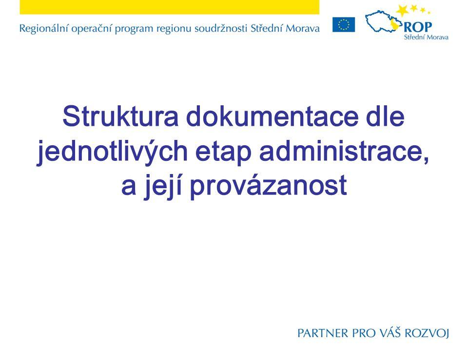 Struktura dokumentace dle jednotlivých etap administrace, a její provázanost