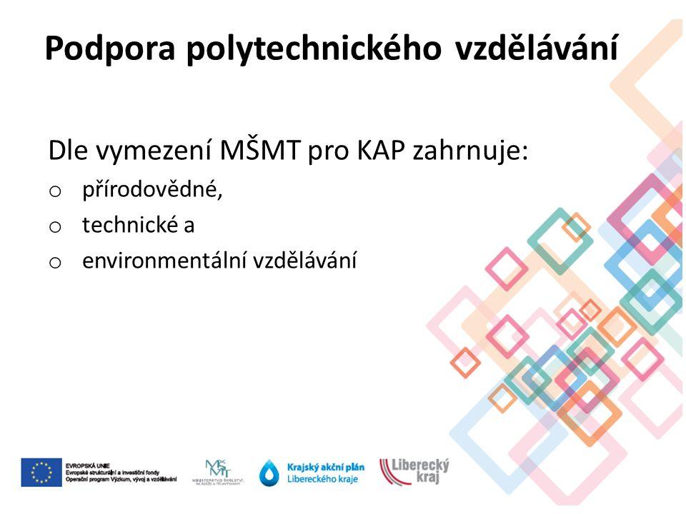 Dle vymezení MŠMT pro KAP zahrnuje: o přírodovědné, o technické a o environmentální vzdělávání Podpora polytechnického vzdělávání