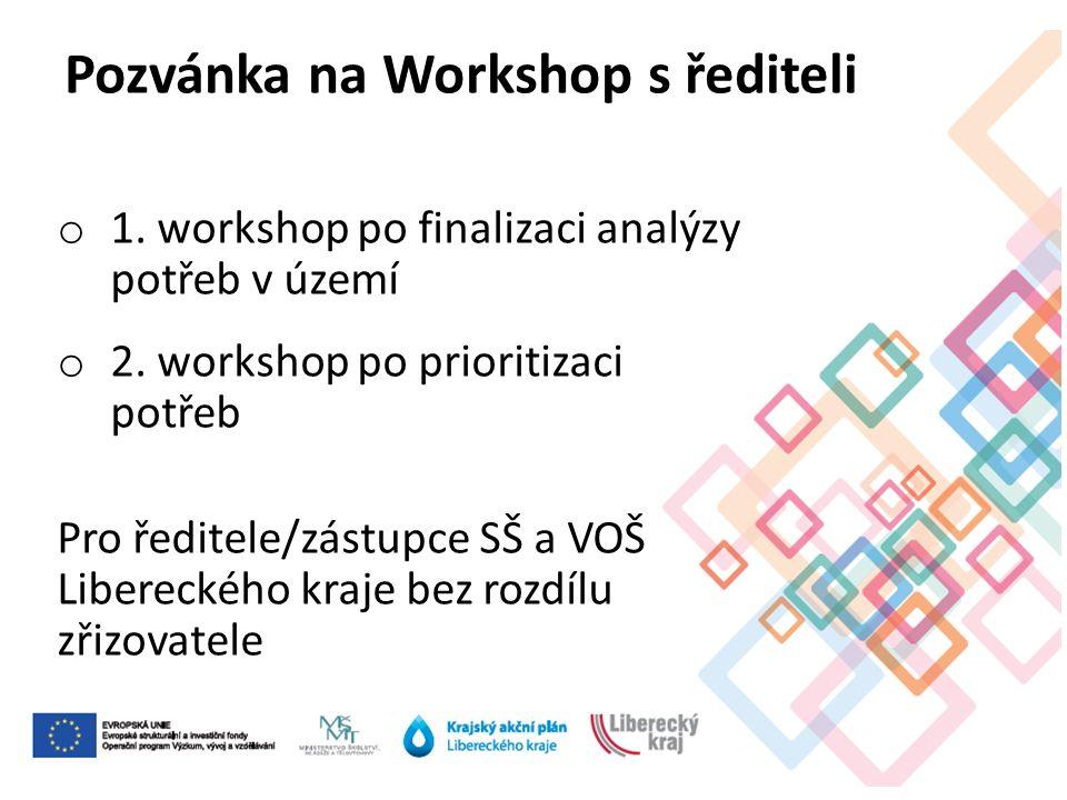 o 1. workshop po finalizaci analýzy potřeb v území o 2.