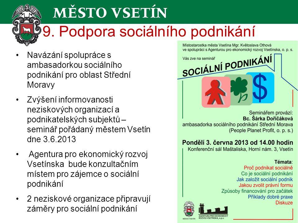 9. Podpora sociálního podnikání Navázání spolupráce s ambasadorkou sociálního podnikání pro oblast Střední Moravy Zvýšení informovanosti neziskových o