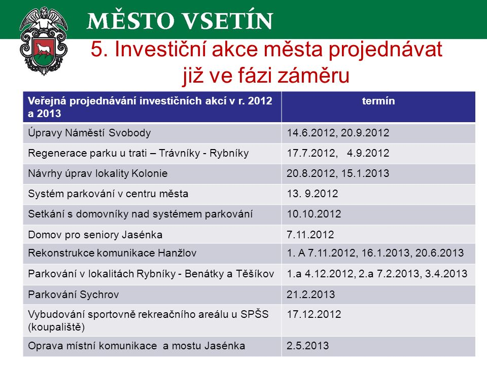 5. Investiční akce města projednávat již ve fázi záměru Veřejná projednávání investičních akcí v r.