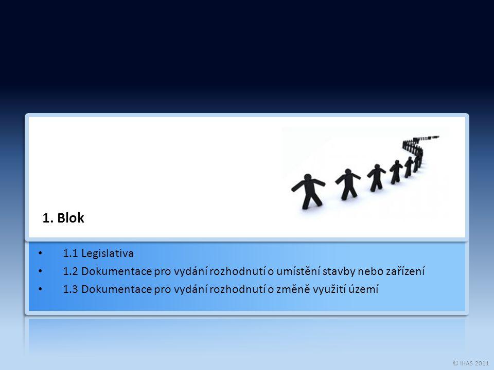 © IHAS 2011 1. Blok 1.1 Legislativa 1.2 Dokumentace pro vydání rozhodnutí o umístění stavby nebo zařízení 1.3 Dokumentace pro vydání rozhodnutí o změn