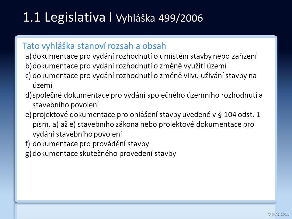 © IHAS 2011 Tato vyhláška stanoví rozsah a obsah a)dokumentace pro vydání rozhodnutí o umístění stavby nebo zařízení b)dokumentace pro vydání rozhodnu