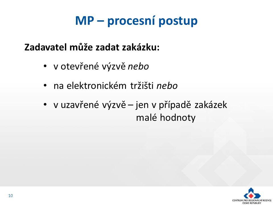 Zadavatel může zadat zakázku: v otevřené výzvě nebo na elektronickém tržišti nebo v uzavřené výzvě – jen v případě zakázek malé hodnoty MP – procesní postup 10