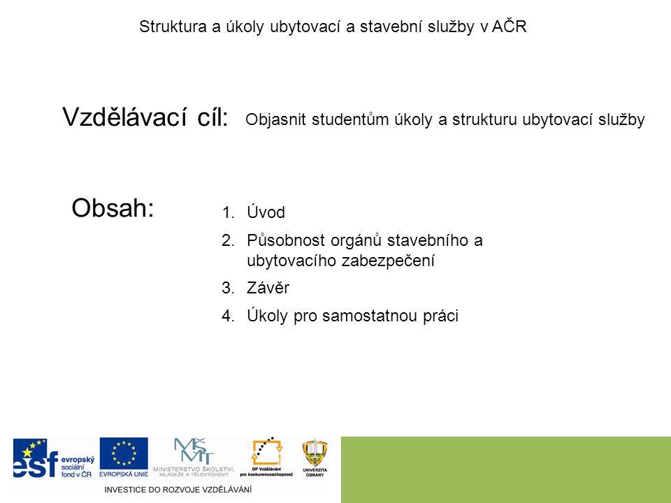 Vzdělávací cíl: Obsah: Struktura a úkoly ubytovací a stavební služby v AČR Objasnit studentům úkoly a strukturu ubytovací služby 1.Úvod 2.Působnost or