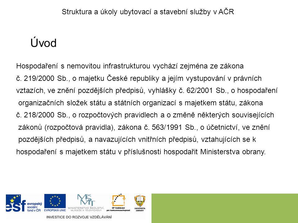 Úvod Hospodaření s nemovitou infrastrukturou vychází zejména ze zákona č. 219/2000 Sb., o majetku České republiky a jejím vystupování v právních vztaz
