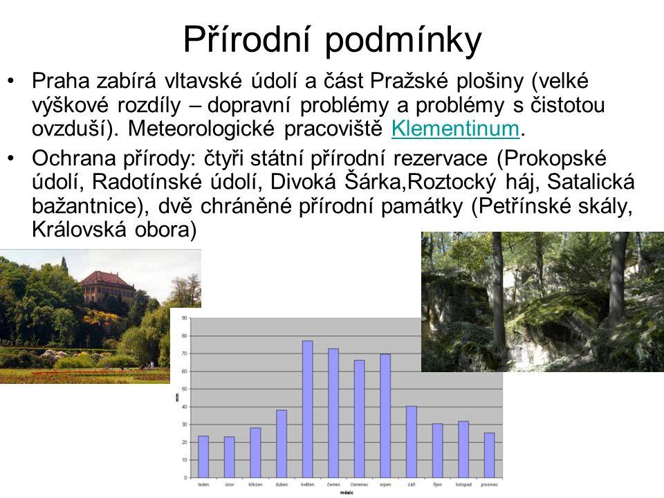 Přírodní podmínky Praha zabírá vltavské údolí a část Pražské plošiny (velké výškové rozdíly – dopravní problémy a problémy s čistotou ovzduší).