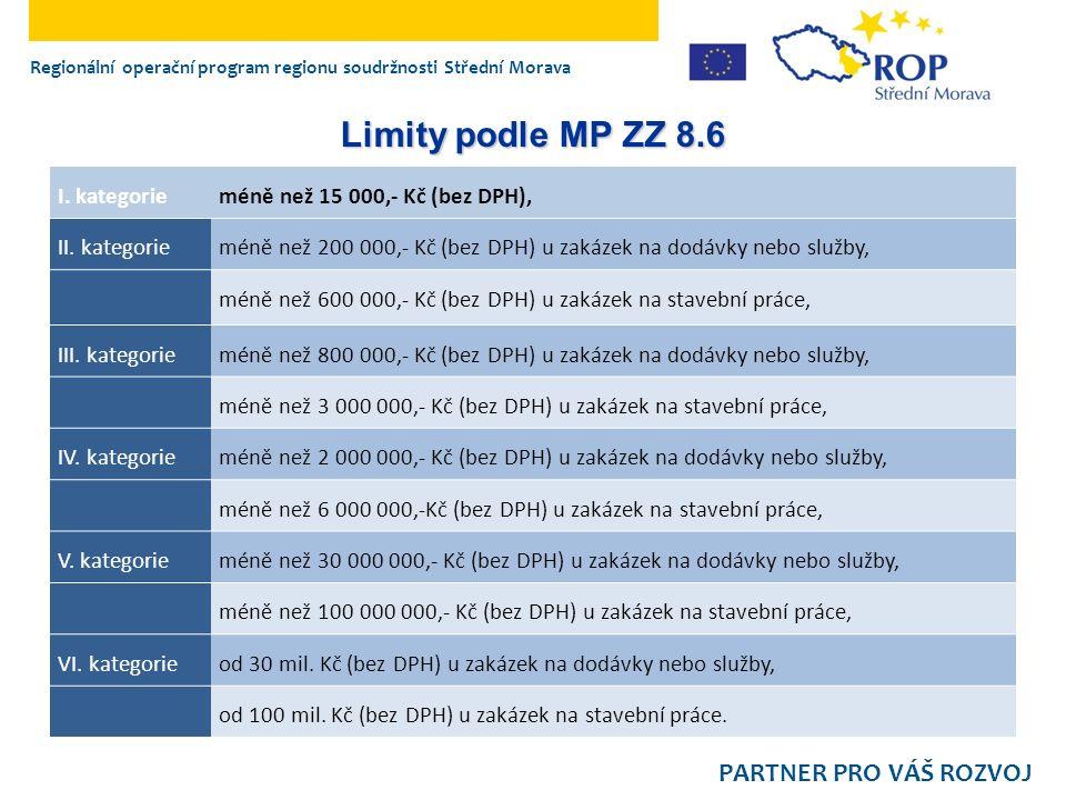 Regionální operační program regionu soudržnosti Střední Morava PARTNER PRO VÁŠ ROZVOJ Limity podle MP ZZ 8.6 I. kategorieméně než 15 000,- Kč (bez DPH