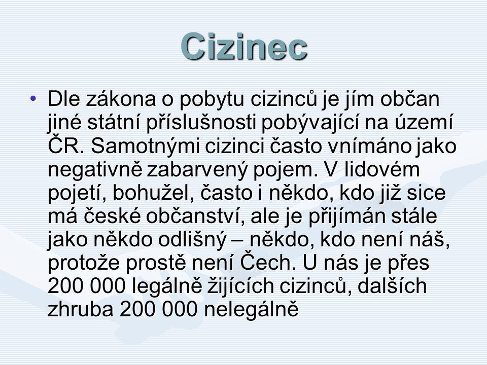 Cizinec Dle zákona o pobytu cizinců je jím občan jiné státní příslušnosti pobývající na území ČR. Samotnými cizinci často vnímáno jako negativně zabar