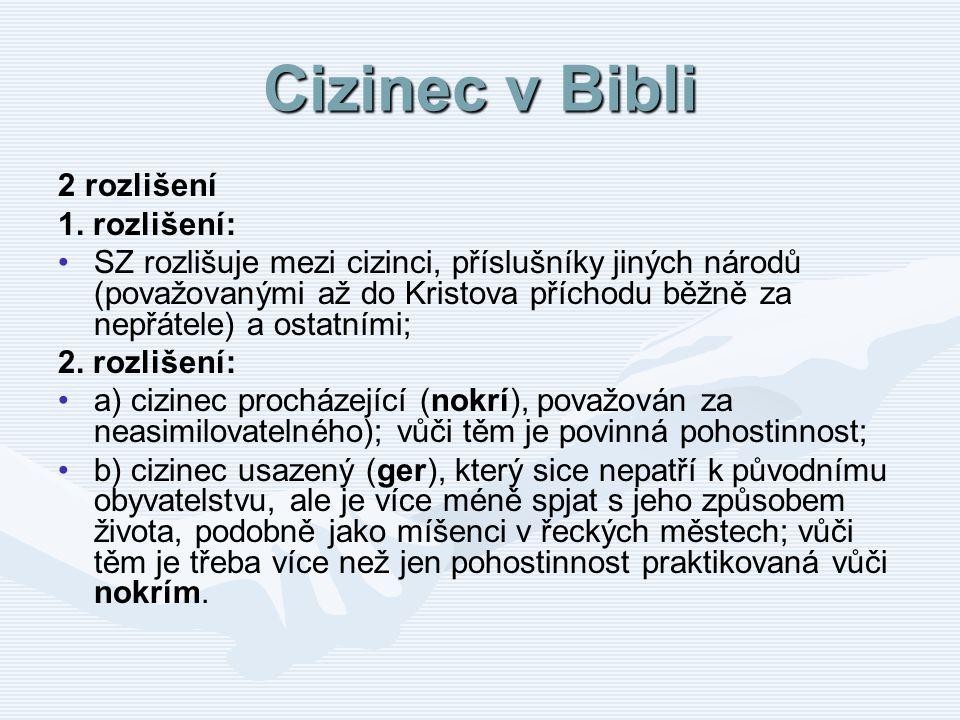 Cizinec v Bibli 2 rozlišení 1. rozlišení: SZ rozlišuje mezi cizinci, příslušníky jiných národů (považovanými až do Kristova příchodu běžně za nepřátel