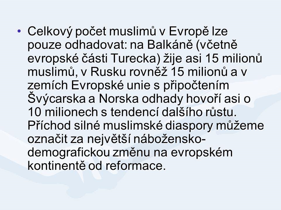 Celkový počet muslimů v Evropě lze pouze odhadovat: na Balkáně (včetně evropské části Turecka) žije asi 15 milionů muslimů, v Rusku rovněž 15 milionů