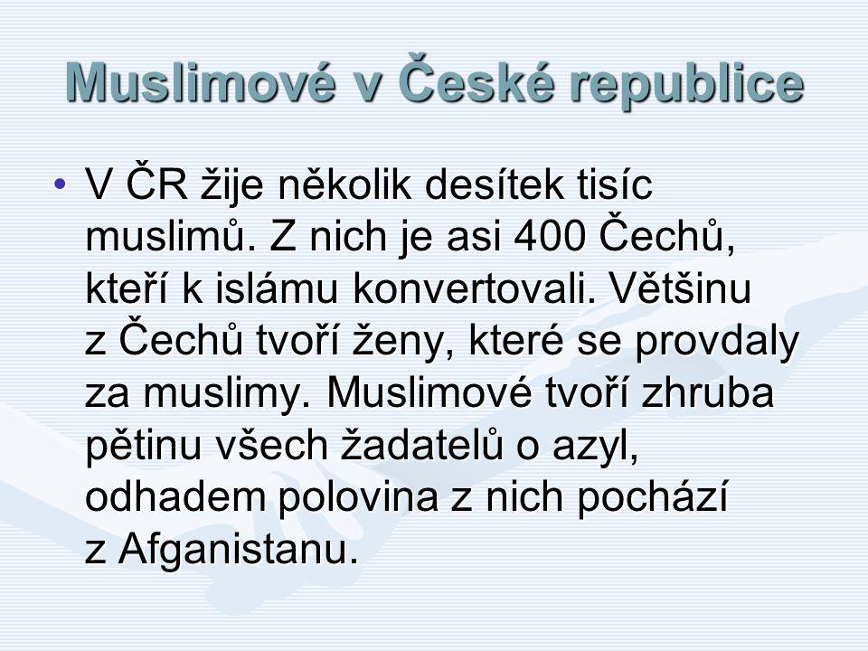 Muslimové v České republice V ČR žije několik desítek tisíc muslimů. Z nich je asi 400 Čechů, kteří k islámu konvertovali. Většinu z Čechů tvoří ženy,