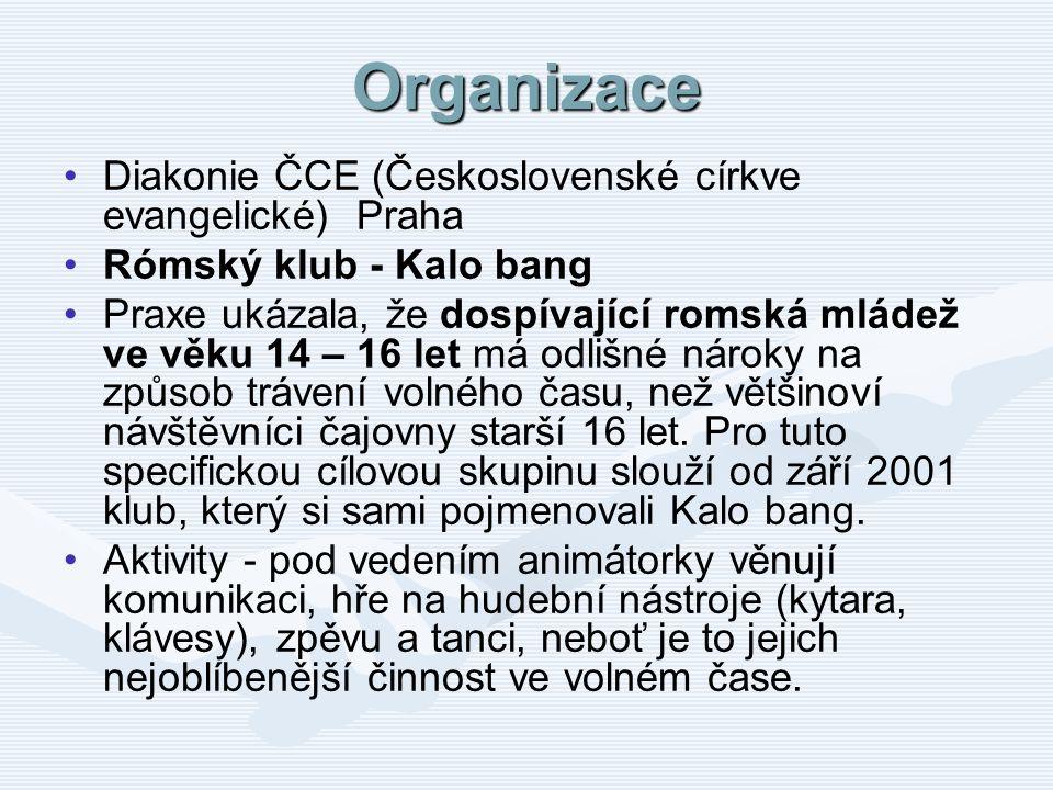 Organizace Diakonie ČCE (Československé církve evangelické) Praha Rómský klub - Kalo bang Praxe ukázala, že dospívající romská mládež ve věku 14 – 16