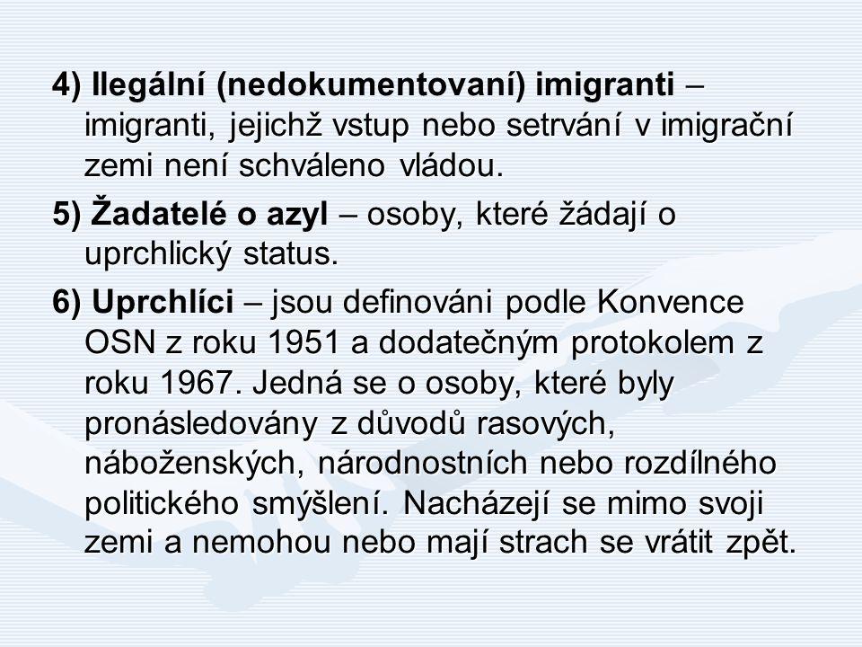 4) – imigranti, jejichž vstup nebo setrvání v imigrační zemi není schváleno vládou. 4) Ilegální (nedokumentovaní) imigranti – imigranti, jejichž vstup