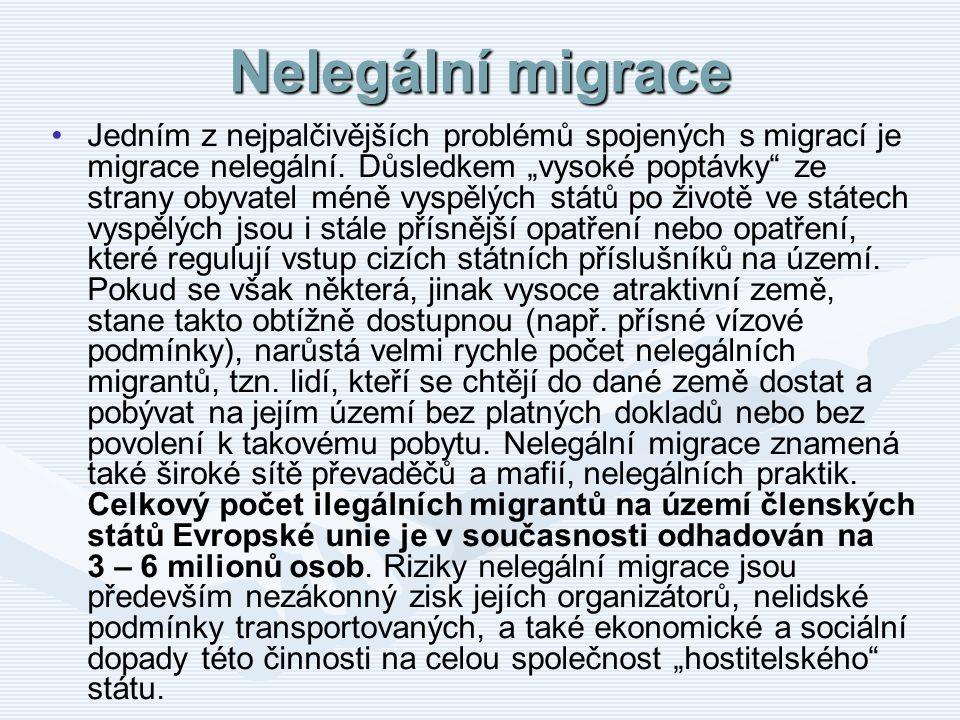 """Nelegální migrace Jedním z nejpalčivějších problémů spojených s migrací je migrace nelegální. Důsledkem """"vysoké poptávky"""" ze strany obyvatel méně vysp"""