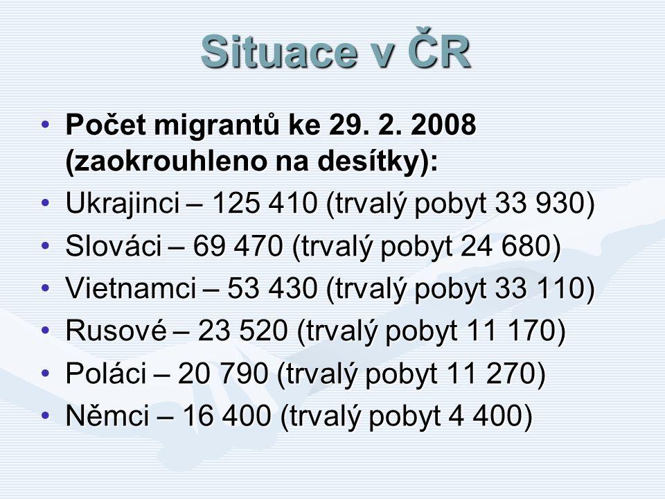 Situace v ČR Počet migrantů ke 29. 2. 2008 (zaokrouhleno na desítky):Počet migrantů ke 29. 2. 2008 (zaokrouhleno na desítky): Ukrajinci – 125 410 (trv