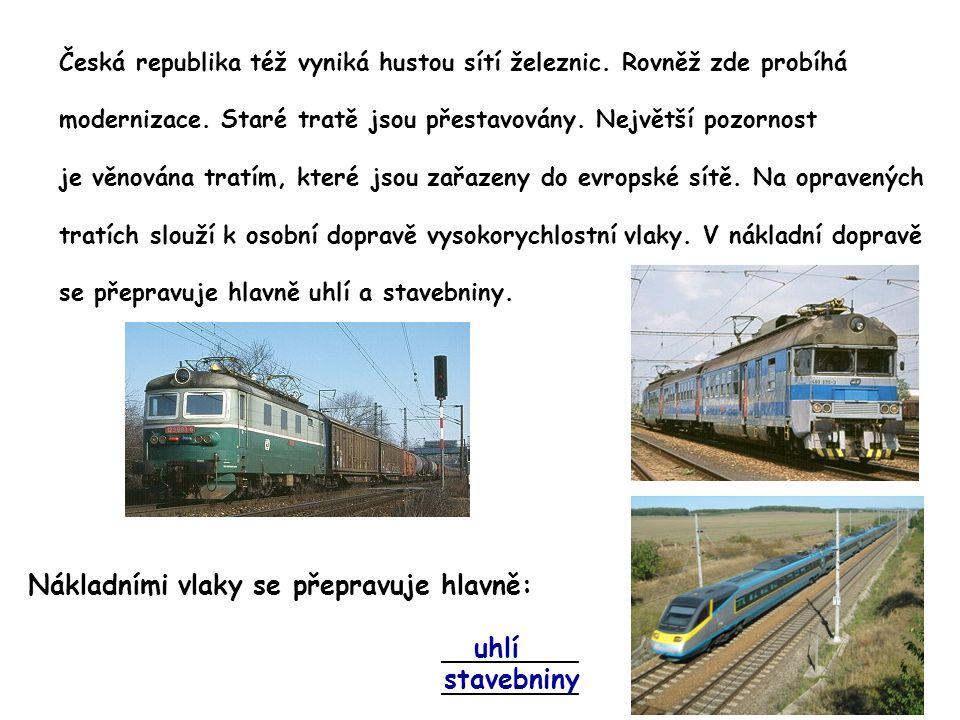 Česká republika též vyniká hustou sítí železnic. Rovněž zde probíhá modernizace. Staré tratě jsou přestavovány. Největší pozornost je věnována tratím,