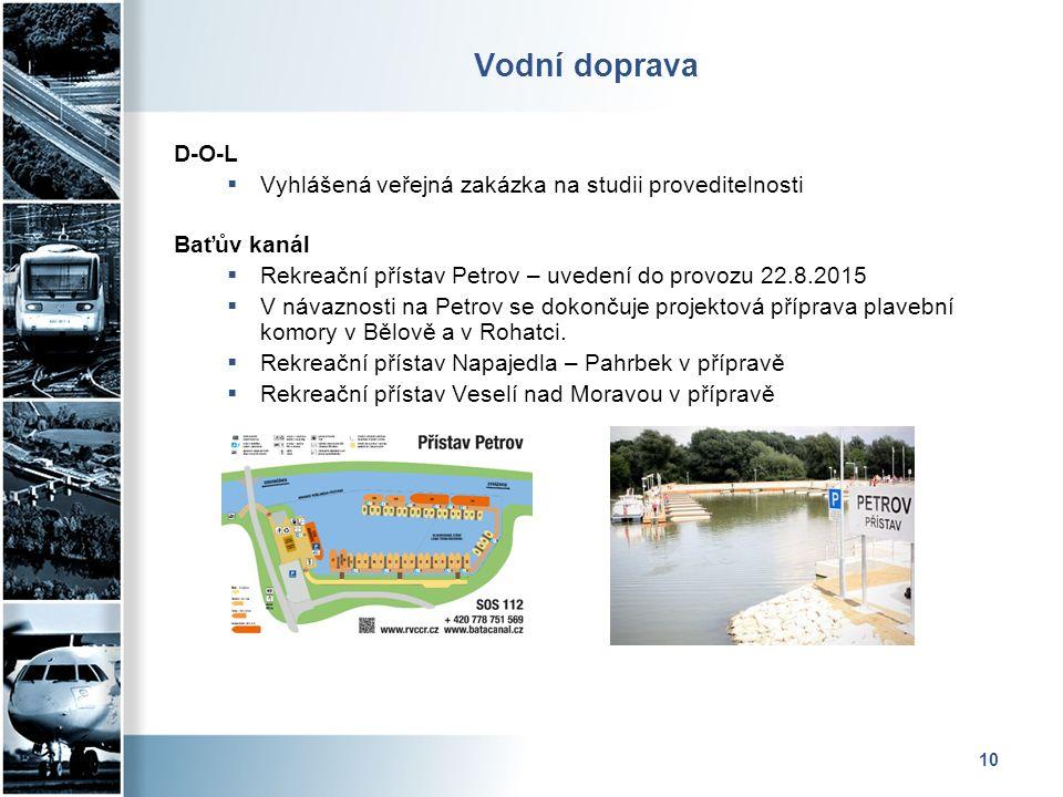 Vodní doprava D-O-L  Vyhlášená veřejná zakázka na studii proveditelnosti Baťův kanál  Rekreační přístav Petrov – uvedení do provozu 22.8.2015  V návaznosti na Petrov se dokončuje projektová příprava plavební komory v Bělově a v Rohatci.