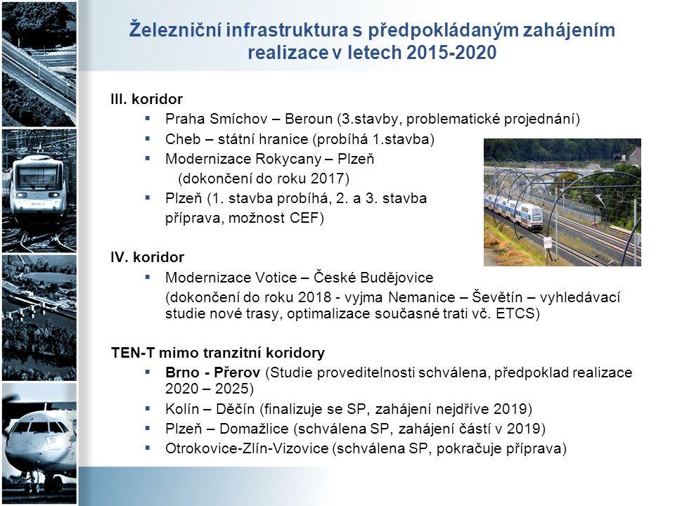 Železniční infrastruktura s předpokládaným zahájením realizace v letech 2015-2020 III. koridor  Praha Smíchov – Beroun (3.stavby, problematické proje