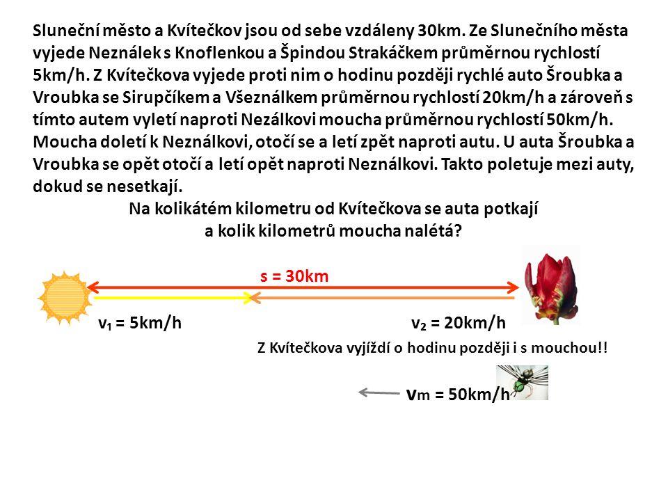 Sluneční město a Kvítečkov jsou od sebe vzdáleny 30km.