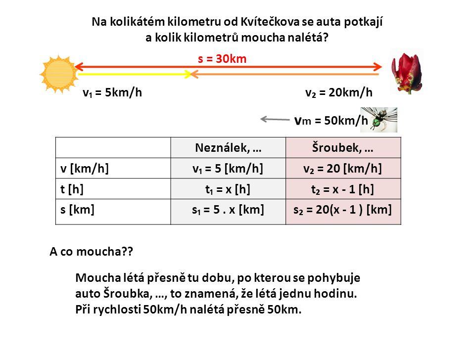Na kolikátém kilometru od Kvítečkova se auta potkají a kolik kilometrů moucha nalétá? s = 30km v₁ = 5km/h v m = 50km/h v₂ = 20km/h Neználek, …Šroubek,
