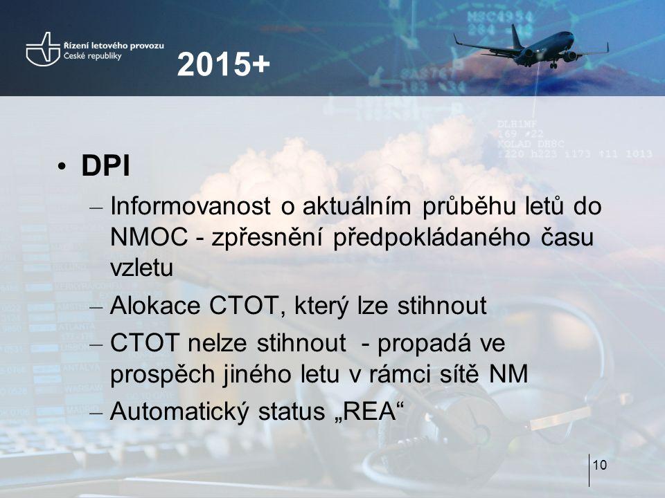 """2015+ DPI – Informovanost o aktuálním průběhu letů do NMOC - zpřesnění předpokládaného času vzletu – Alokace CTOT, který lze stihnout – CTOT nelze stihnout - propadá ve prospěch jiného letu v rámci sítě NM – Automatický status """"REA 10"""