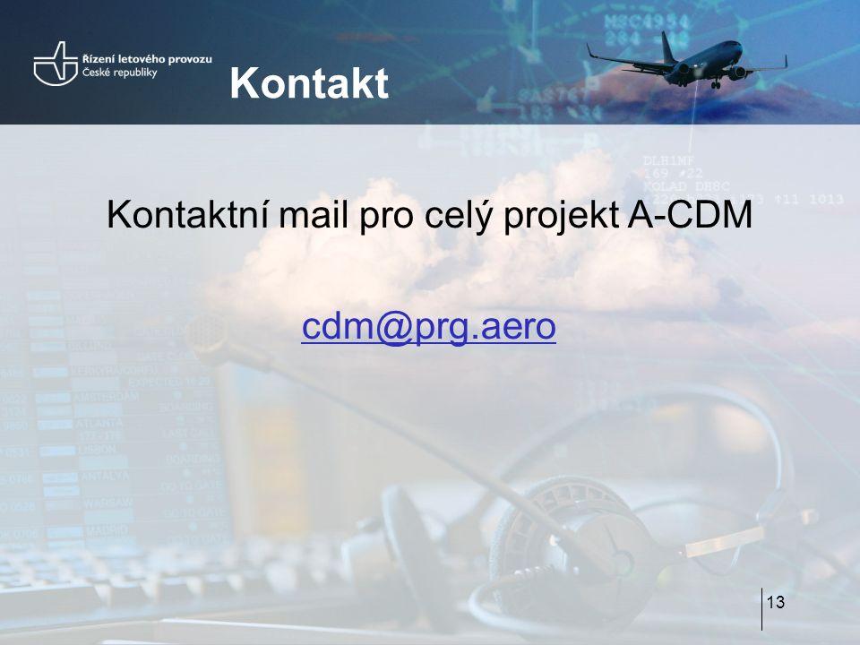 Kontakt Kontaktní mail pro celý projekt A-CDM cdm@prg.aero 13