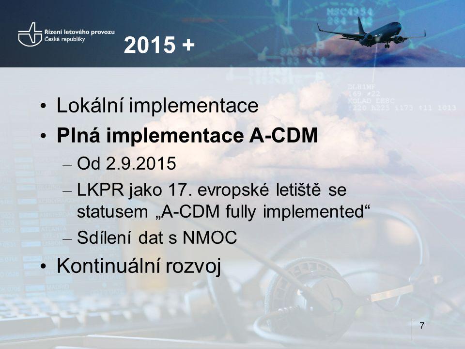 """2015 + Lokální implementace Plná implementace A-CDM – Od 2.9.2015 – LKPR jako 17. evropské letiště se statusem """"A-CDM fully implemented"""" – Sdílení dat"""