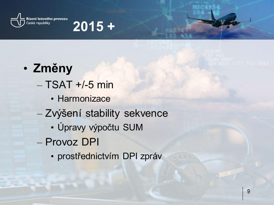 Změny – TSAT +/-5 min Harmonizace – Zvýšení stability sekvence Úpravy výpočtu SUM – Provoz DPI prostřednictvím DPI zpráv 9