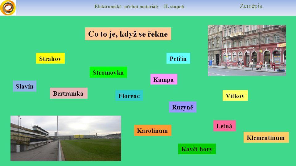 Elektronické učební materiály - II. stupeň Zeměpis Co to je, když se řekne Slavín Vítkov Bertramka Kampa Stromovka Karolinum Ruzyně Klementinum Floren