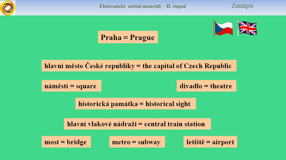 Elektronické učební materiály - II. stupeň Zeměpis hlavní město České republiky = the capital of Czech Republic metro = subway náměstí = squaredivadlo