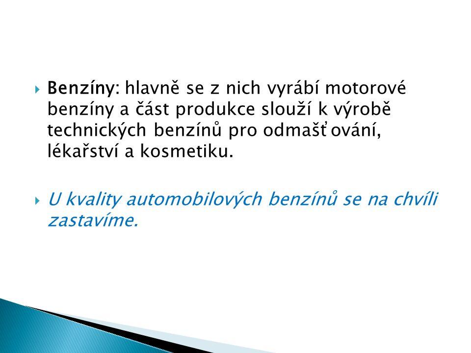  Kvalita motorových benzínů je dána chemickým složením.