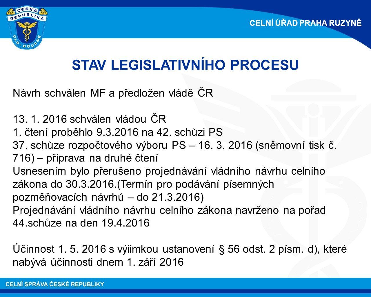 STAV LEGISLATIVNÍHO PROCESU Návrh schválen MF a předložen vládě ČR 13.
