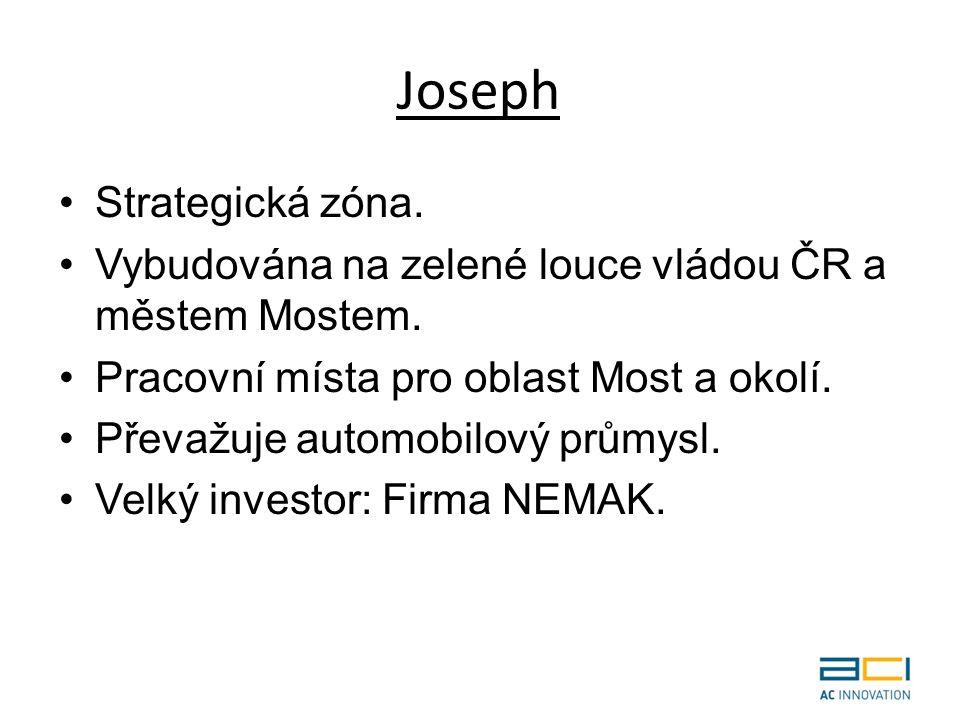 Joseph Strategická zóna. Vybudována na zelené louce vládou ČR a městem Mostem.