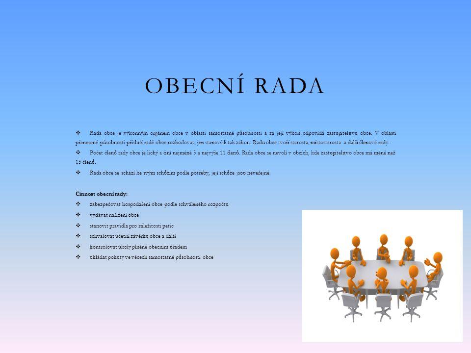 OBECNÍ RADA  Rada obce je výkonným orgánem obce v oblasti samostatné působnosti a za její výkon odpovídá zastupitelstvu obce.