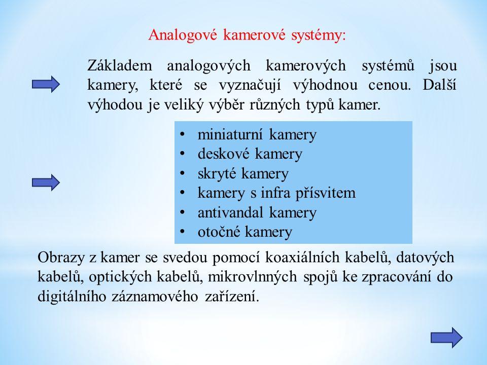 Analogové kamerové systémy: Základem analogových kamerových systémů jsou kamery, které se vyznačují výhodnou cenou. Další výhodou je veliký výběr různ