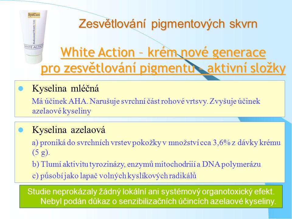 Zesvětlování pigmentových skvrn White Action – krém nové generace pro zesvětlování pigmentu – aktivní složky Kyselina mléčná Má účinek AHA. Narušuje s