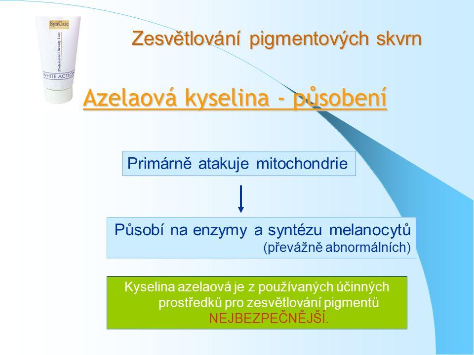 Zesvětlování pigmentových skvrn Azelaová kyselina - působení Primárně atakuje mitochondrie Působí na enzymy a syntézu melanocytů (převážně abnormálních) Kyselina azelaová je z používaných účinných prostředků pro zesvětlování pigmentů NEJBEZPEČNĚJŠÍ.