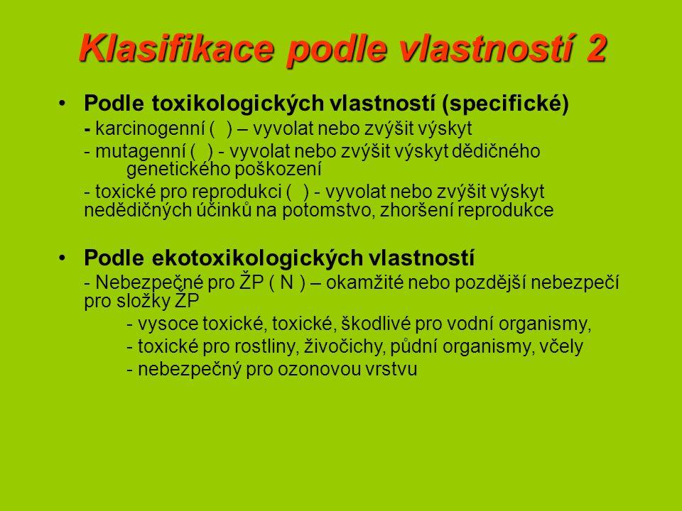 Klasifikace podle vlastností 2 Podle toxikologických vlastností (specifické) - karcinogenní ( ) – vyvolat nebo zvýšit výskyt - mutagenní ( ) - vyvolat nebo zvýšit výskyt dědičného genetického poškození - toxické pro reprodukci ( ) - vyvolat nebo zvýšit výskyt nedědičných účinků na potomstvo, zhoršení reprodukce Podle ekotoxikologických vlastností - Nebezpečné pro ŽP ( N ) – okamžité nebo pozdější nebezpečí pro složky ŽP - vysoce toxické, toxické, škodlivé pro vodní organismy, - toxické pro rostliny, živočichy, půdní organismy, včely - nebezpečný pro ozonovou vrstvu