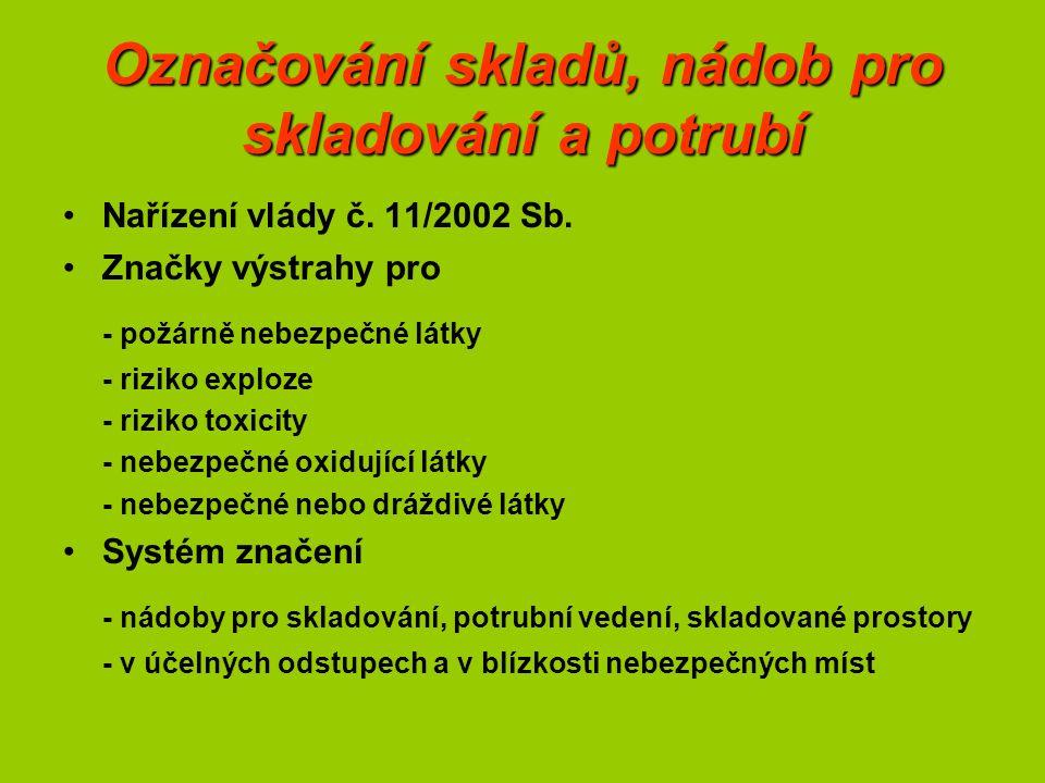 Označování skladů, nádob pro skladování a potrubí Nařízení vlády č.
