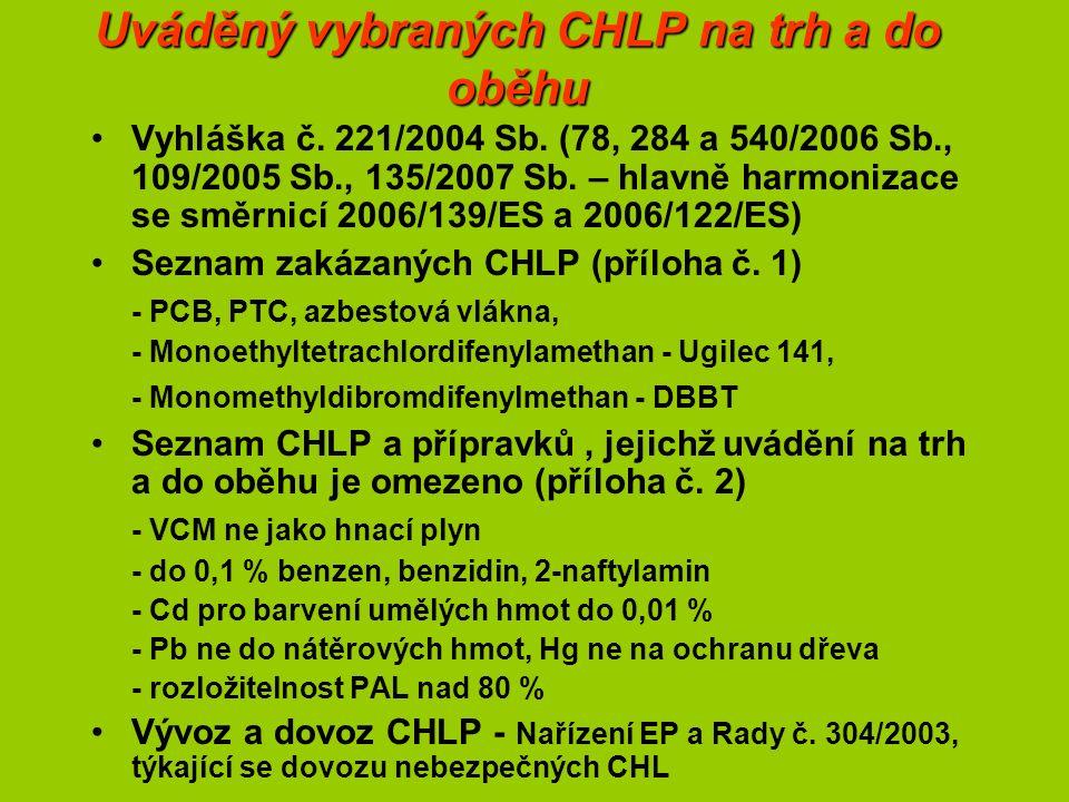 Uváděný vybraných CHLP na trh a do oběhu Vyhláška č.