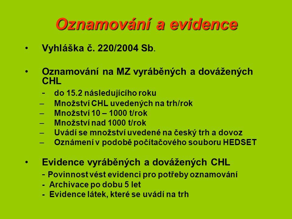 Oznamování a evidence Vyhláška č. 220/2004 Sb.