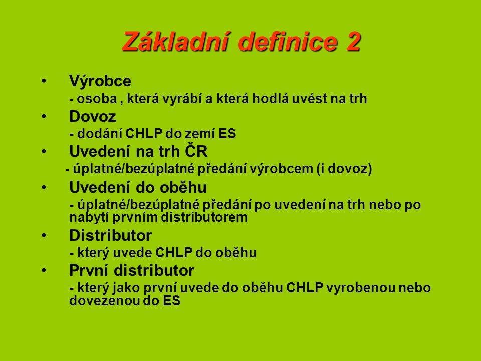 Základní definice 2 Výrobce - osoba, která vyrábí a která hodlá uvést na trh Dovoz - dodání CHLP do zemí ES Uvedení na trh ČR - úplatné/bezúplatné předání výrobcem (i dovoz) Uvedení do oběhu - úplatné/bezúplatné předání po uvedení na trh nebo po nabytí prvním distributorem Distributor - který uvede CHLP do oběhu První distributor - který jako první uvede do oběhu CHLP vyrobenou nebo dovezenou do ES
