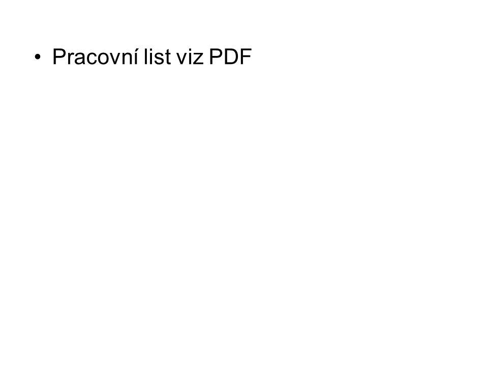 Pracovní list viz PDF