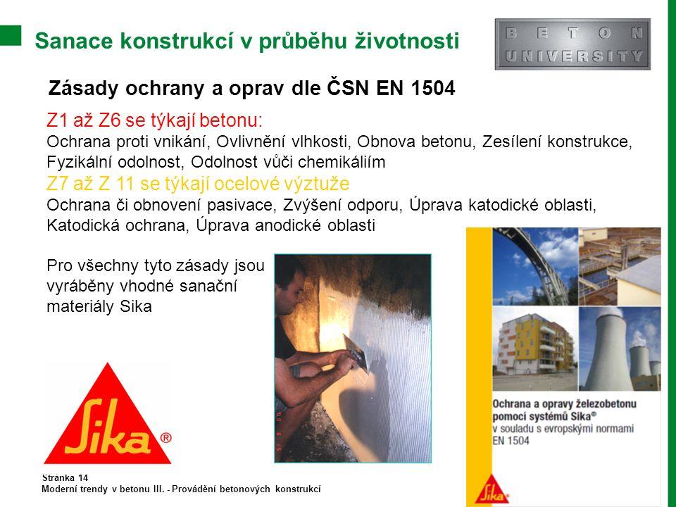 Sanace konstrukcí v průběhu životnosti Stránka 14 Moderní trendy v betonu III. - Provádění betonových konstrukcí Zásady ochrany a oprav dle ČSN EN 150