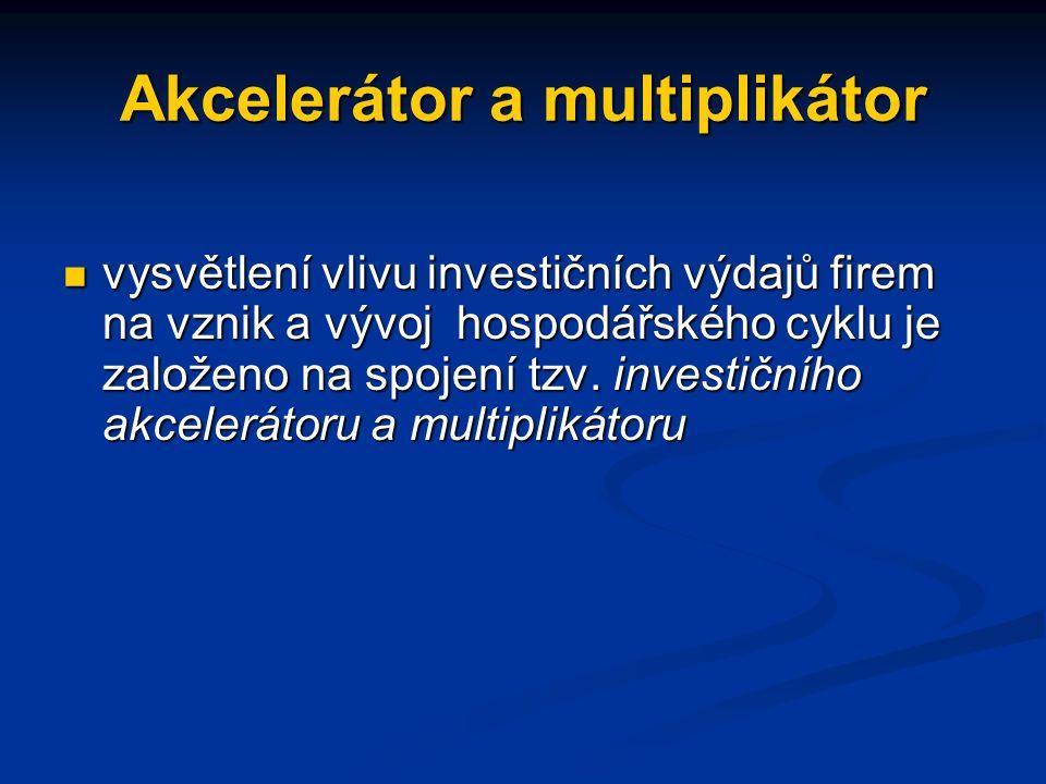 Akcelerátor a multiplikátor vysvětlení vlivu investičních výdajů firem na vznik a vývoj hospodářského cyklu je založeno na spojení tzv.