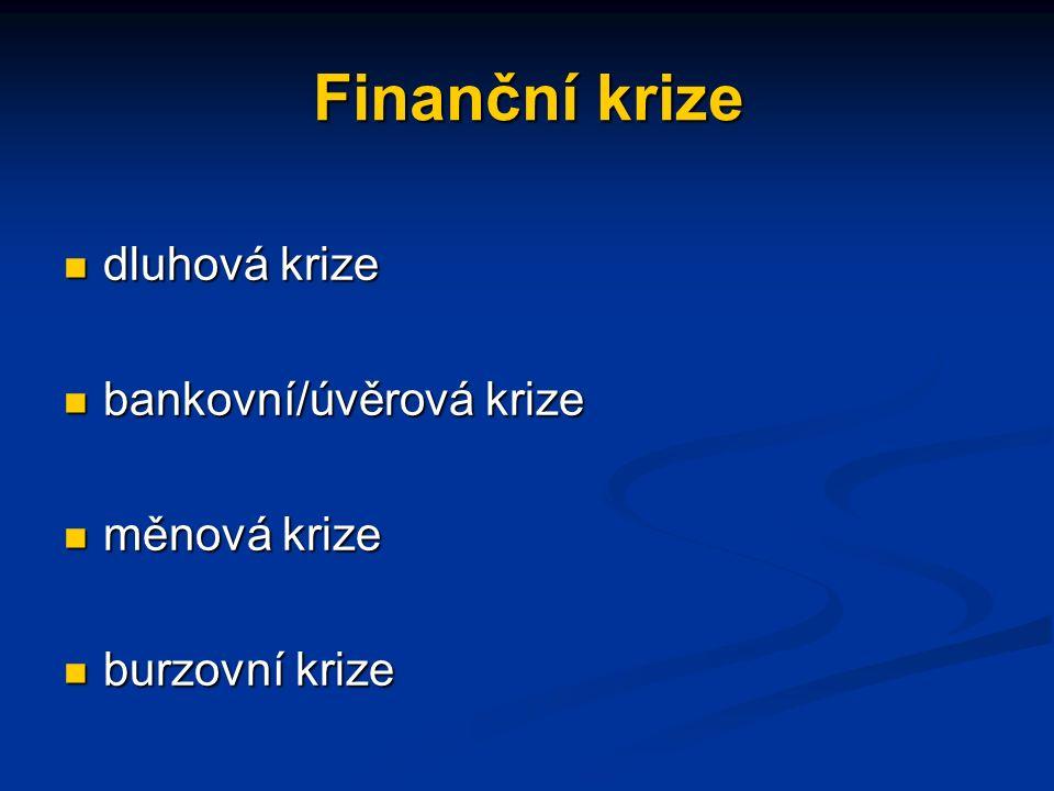 Finanční krize dluhová krize dluhová krize bankovní/úvěrová krize bankovní/úvěrová krize měnová krize měnová krize burzovní krize burzovní krize