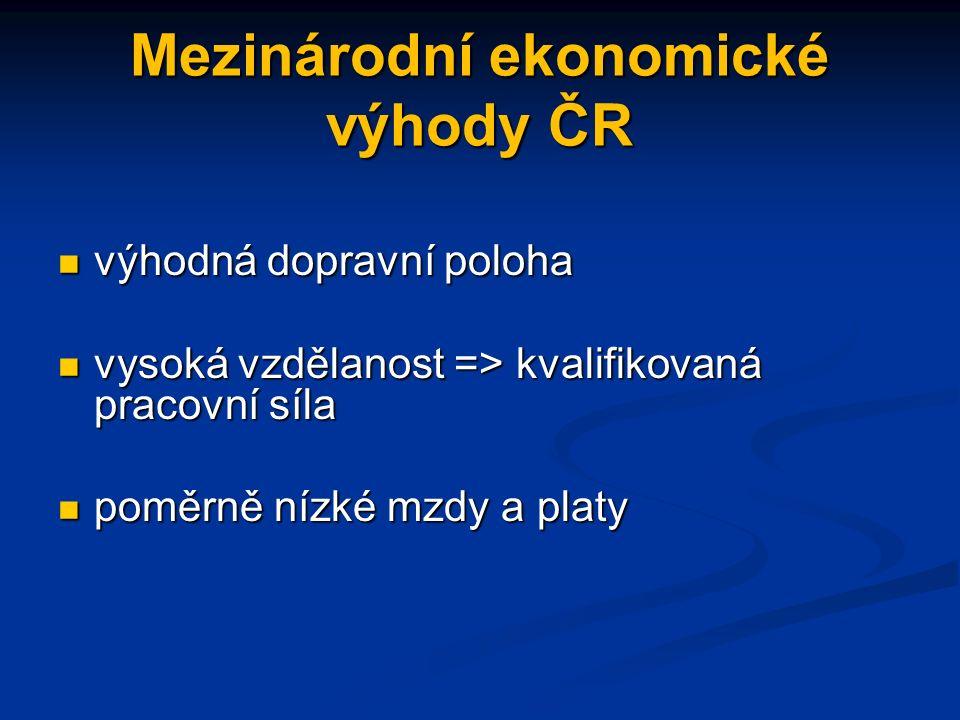 Mezinárodní ekonomické výhody ČR výhodná dopravní poloha vysoká vzdělanost => kvalifikovaná pracovní síla poměrně nízké mzdy a platy