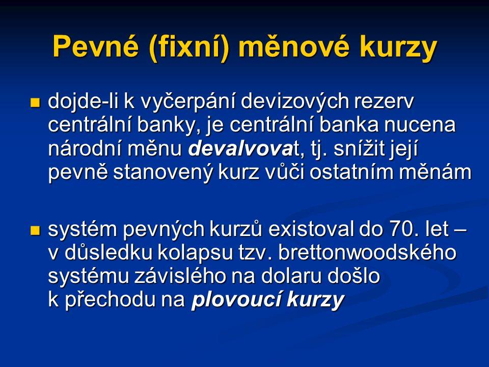 Pevné (fixní) měnové kurzy dojde-li k vyčerpání devizových rezerv centrální banky, je centrální banka nucena národní měnu devalvovat, tj.
