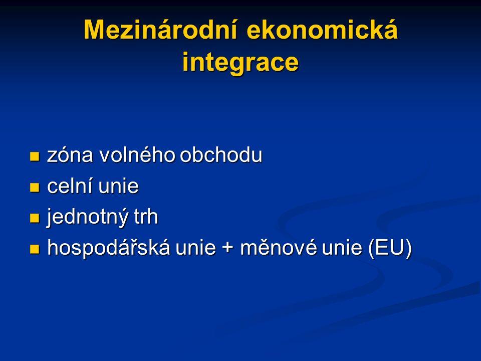 Mezinárodní ekonomická integrace zóna volného obchodu zóna volného obchodu celní unie celní unie jednotný trh jednotný trh hospodářská unie + měnové unie (EU) hospodářská unie + měnové unie (EU)